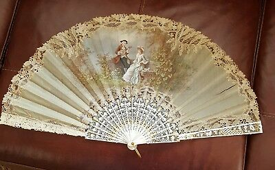 Antique Hand Fan, Lace & Painted, F. Houghton, Ca. 1880-1890