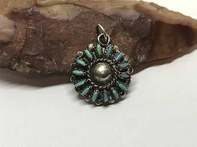 vintage Old Pawn Native Zuni sterling turquoise Petit Point Small Charm Pendant