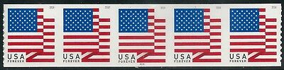 US Scott #5260 (50c Forever) US Flag Coil Strip of 5 APU (P111) 2018 Mint NH