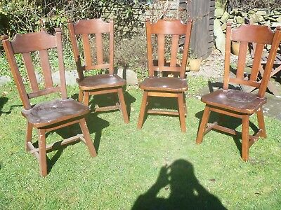 Vintage dutch oak dining chairs ....ideal shabby chic project!!..good shape!!