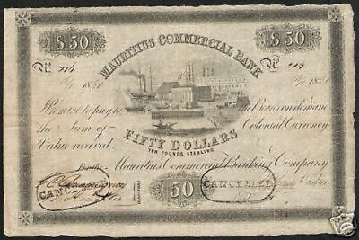 Mauritius 50 Dollars P S125 1840 Ship Building Rare Currency Money Bank Note