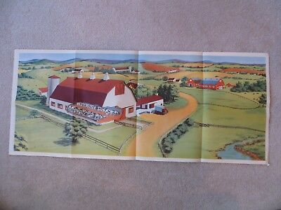 ANTIQUE PRINT POSTER BIRDSEYE VIEW DAIRY FARM multi color BARN COWS TRUCK nice