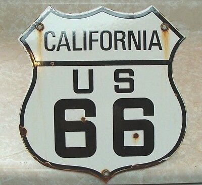 Route 66 Vintage Porcelain Shield Historic Highway Sign California