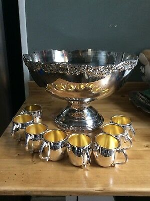 Huge Gorgeous Antique F.B Rodgers Silver Punch Bowl 1883