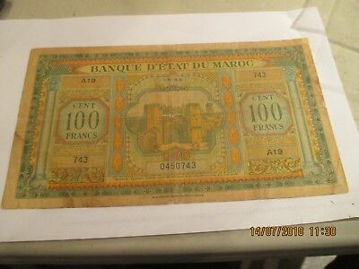 1943 Morocco 100 Cent  Francs Note,P-27