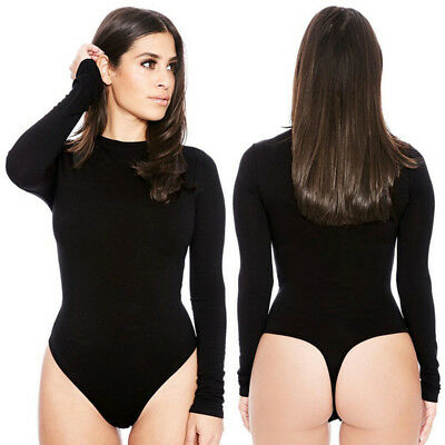 Women Long Sleeve Stretch Bodysuit Leotard Body T-shirt Party Leotard Top Blouse