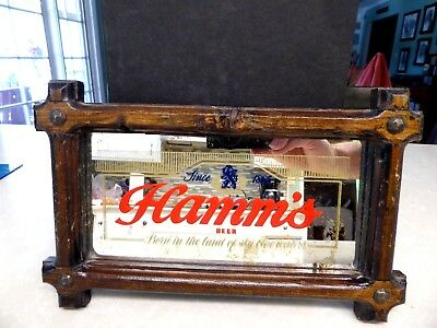 1970's Hamm's Beer Wood Frame Mirror Sign 6 by 8 3/4 inches
