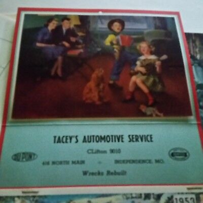 1953 TACEY'S AUTOMOTIVE SERVICE Give Away Wall Calender  Cowboy Singing NOS