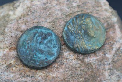 Rare Set of TWO Ancient Tetradrachm Alexandria Roman Egyptian Billon Coins, 68AD