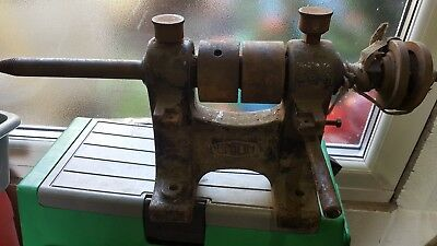 Vintage stationary belt driven Bench grinder polisher kit