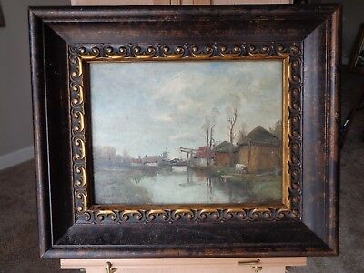 """Chas. P. Gruppe, oil, """" Bridge, Houses"""" 9x12 signed, early 1900's"""