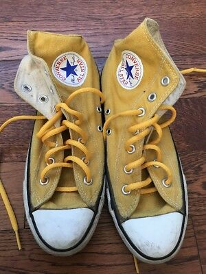 Vintage Made in USA Converse Yellow Hi-tops - Sz 6