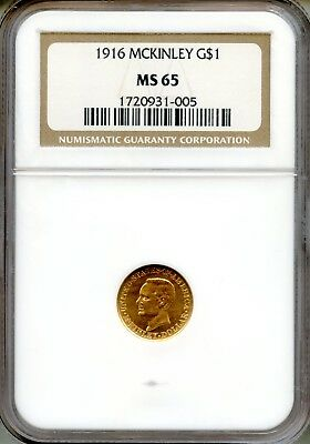 1916 McKinley G$1 NGC MS65 ~ Commemorative Gold Dollar (1720931-005)