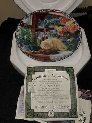 Mary Ann Lasher HANNA'S SECRET GARDEN plate #5 Kitty Warm Country Moments Cat