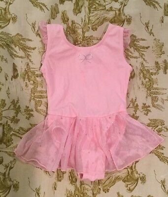 Girls Jacques Moret Pink Dance Skirted Leotard W/ Sparkles ~ Size 4/5 XS
