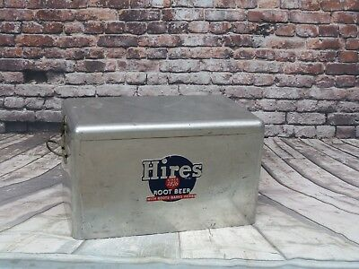 VINTAGE 1950's CRONSTROMS HIRES ROOT BEER ALUMINUM COOLER ICE CHEST WITH TRAY