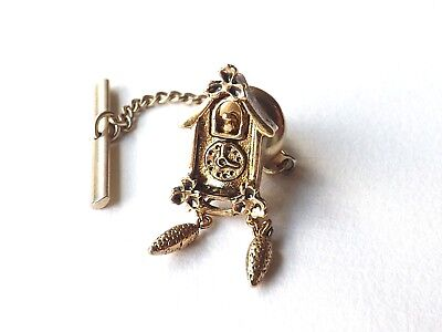 Vintage AVON Tie Pin Tie Tack Gold Tone Cuckoo Clock Moving Weights FREE P&P