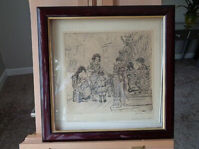 "Jerome Myers etching ""On 9th Avenue"", signed, inscribed, bold impression 9x8"""