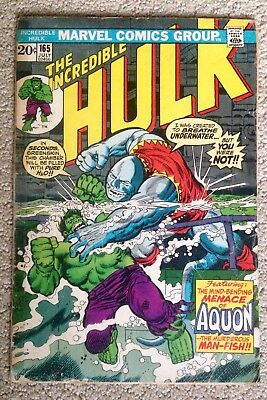 Incredible Hulk #165 (1973) Marvel! 1st Appearance of Aquon!  PRICED TO SELL!