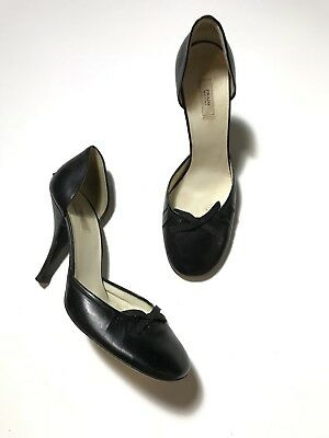 Prada Bow Applique Midnight Black Leather Heels Made In Italy Size 38