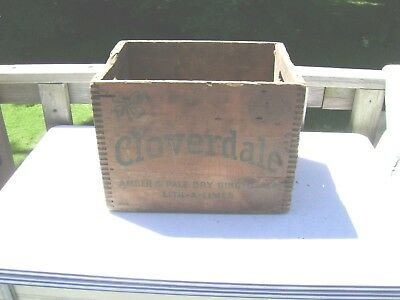 Early Antique Cloverdale Amber & Pale Dry Ginger Ale Wood Advert Box Rare