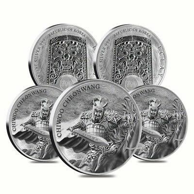 Lot of 5 - 2018 1 oz South Korea Silver Chiwoo Cheonwang Medal BU