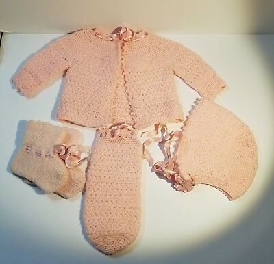 SWEET VINTAGE HANDMADE BABY SWEATER BONNET BOOTIES SET ~ 1950s ~ ADORABLE