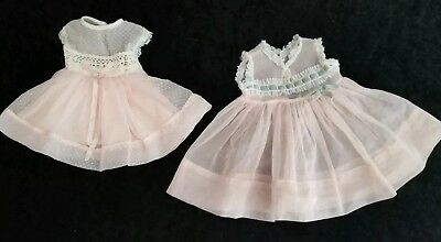 2 Vintage 1950s Doll Dress Gown Sheer Pink Dotted Swiss Lace Alexander Ideal ?