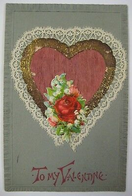 Vtg Early 1900's Valentine's Day Postcard Antique REAL FABRIC LACE Germany 3-D