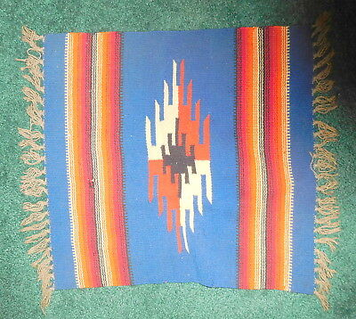 Vintage  Indian Striped,blue, Saddle Blanket Rug Weaving Textile Native American