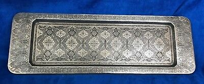 Antique 84 Silver Tray Islamic, Persian, Middles East Chased, Signed