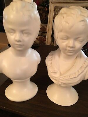 "Vintage Napco 9"" Brother Sister Brongniart Busts"