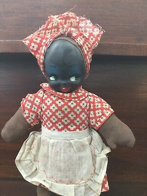 vintage Black Mammy Painted face cloth doll 10""