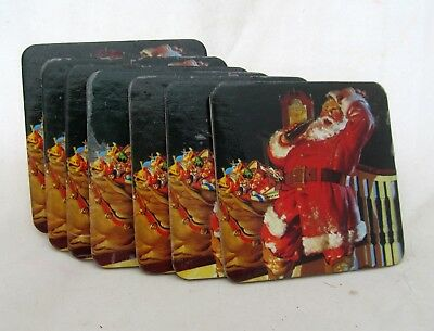 Set of 7 Coca-Cola Coke DRINK COASTERS Santa Claus Toys 1990s Holiday CHRISTMAS