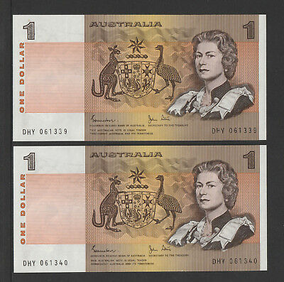 Johnston / Stone - 1982 : Consecutive pair of Australian One Dollar Paper Notes