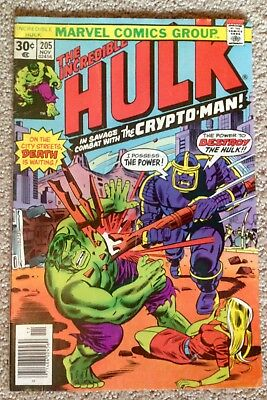 Incredible Hulk #205 (1976)  Death Of Jarella! Crypton-Man App!  PRICED TO SELL!
