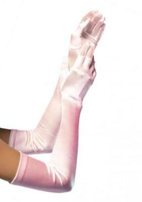 "LT PINK SATIN EXTRA LONG STRETCH GLOVES 22"" Oprea Holiday GLAMOUR Evening  B77"