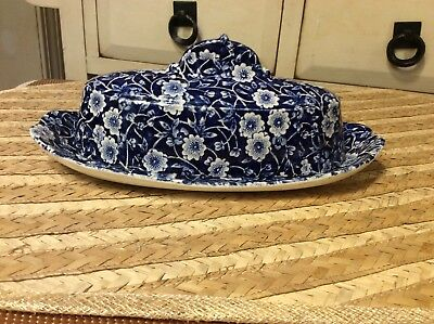 BLUE CALICO CROWNFORD STAFFORDSHIRE covered butter dish calico blue ENGLAND