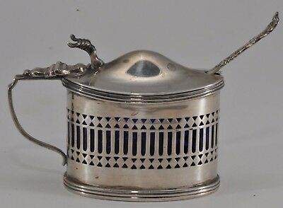 ANTIQUE W&T marked STERLING SILVER MUSTARD POT & SPOON COBALT LINER 98 grams