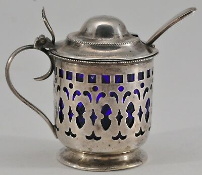 ANTIQUE  STERLING SILVER PIERCED MUSTARD POT & SPOON COBALT LINER 38 grams