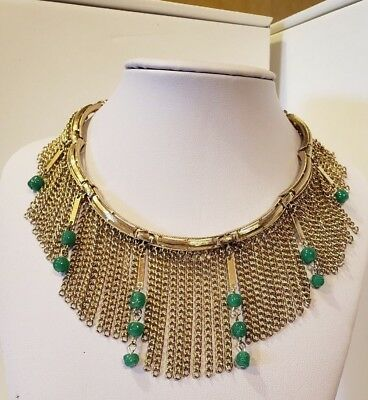 Vintage Egyptian, Tribal, Collar Green Jade Colored Stones Gold Tone Fringe