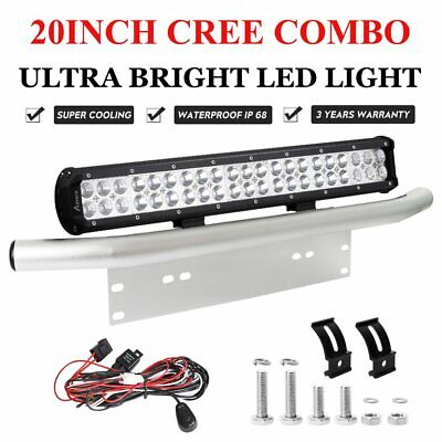 20inch CREE LED Light Bar SPOT FLOOD Offroad + 23'' Silver Number Plate Frame