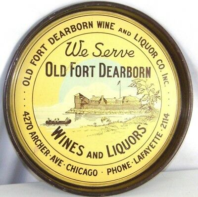 Vintage Rare Tin Advertising Beer Tray old Fort Dearborn Wines & Liquors Chicago