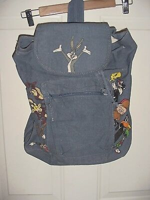 Vintage Wb 1993 Looney Tunes Backpack Bugs Bunny Marvin Martian Wile E Coyote