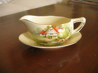 Rare Vintage Royal Winton Grimwades Red Roof Sauce Jug With Under Plate