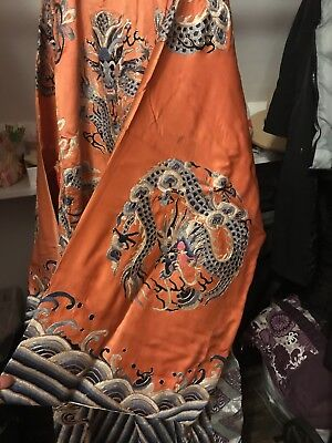 Antique chinese nine dragon mountain cloud silver robe