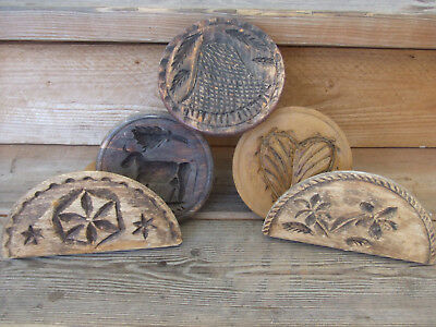 Vintage Wood Carved Butter Stamps Bell, Heart, Horse, Stars, Flowers Lot of 5
