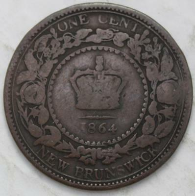 New Brunswick 1864 Large Cent, Scarcer Long 6 Variety, Old Date Queen Victoria