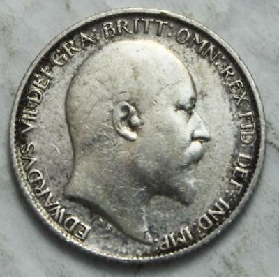 Great Britain 1910 Sterling Silver 6 Pence, Nice Grade, Old Date King Edward VII