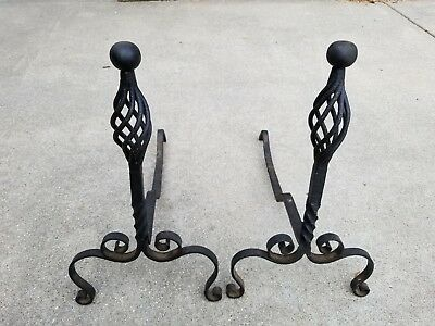 Antique Art & crafts Pair of Hand Forged Wrought Iron Andirons  Marked 1890